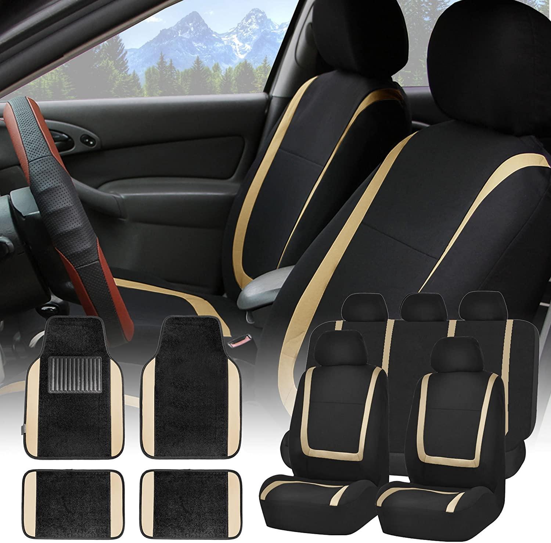 FH Group FH-FB032115 Unique Flat Cloth Seat Covers with F14407 Premium Carpet Floor Mats Beige/Black - Fit Most Car, Truck, SUV, or Van