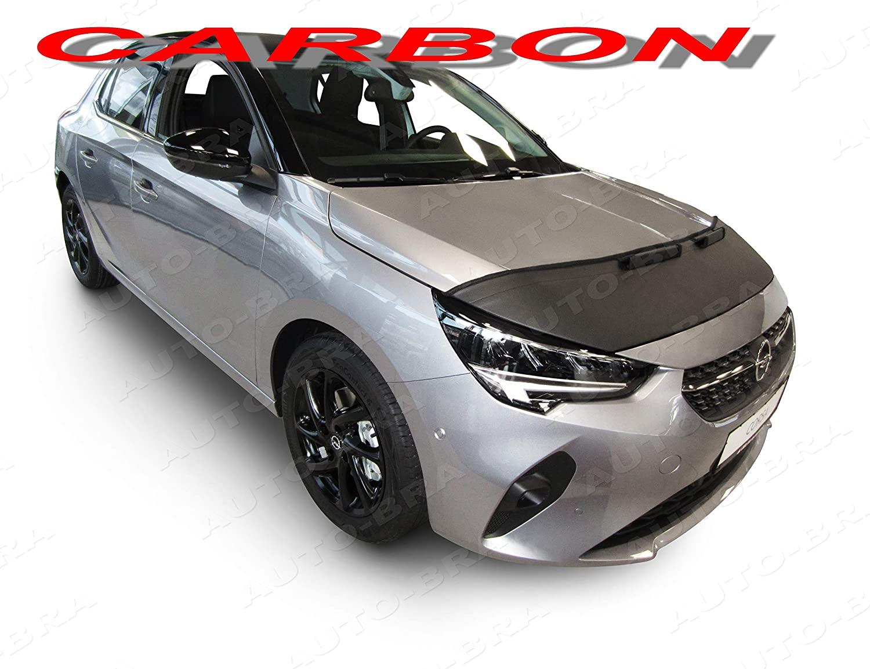 AB3-00464 Carbon Fiber Look Hood Bra fits Vauxhall Opel Corsa F Since 2019 Front End Nose Mask Bonnet Bra