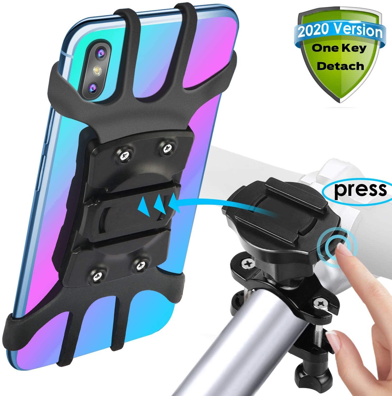 [2020 Version Quick Release] SKYWING Bike Phone Mount, 360° Adjustable Bicycle Phone Holder, Detachable Motorcycle Handlebar Mount Holder. Black