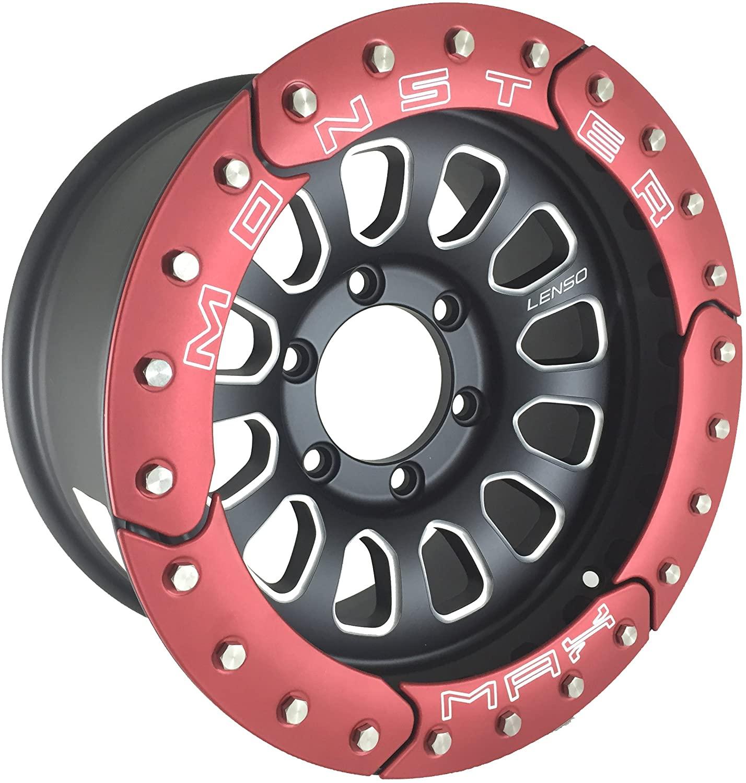 King Of Rims NEW 16 INCH LENSO MAX MONSTER MATT BLACK/LASER TEXT/RED RING 6x139.7 Car Rims Set of 4pcs
