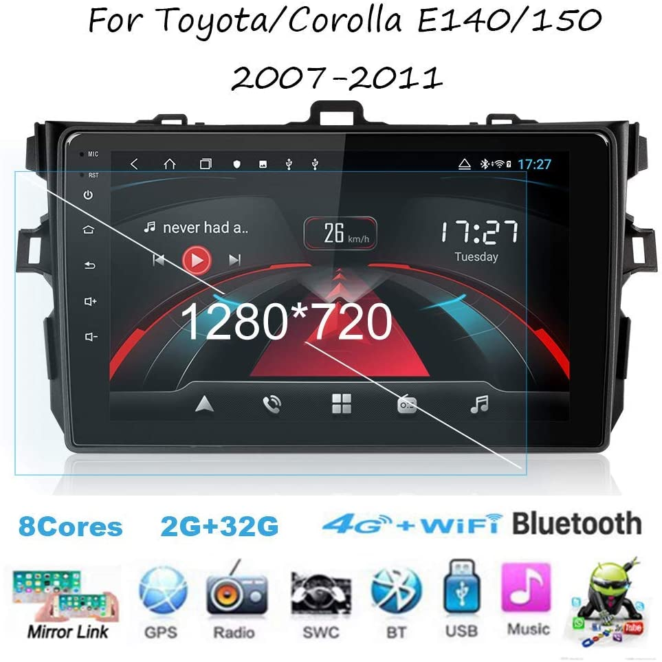 Android Car Stereo Radio Sat Nav Double Din for Toyota/Corolla E140/150 2007-2011 GPS Navigation 9 Inch Touchscreen Head Unit Multimedia Player Video Receiver