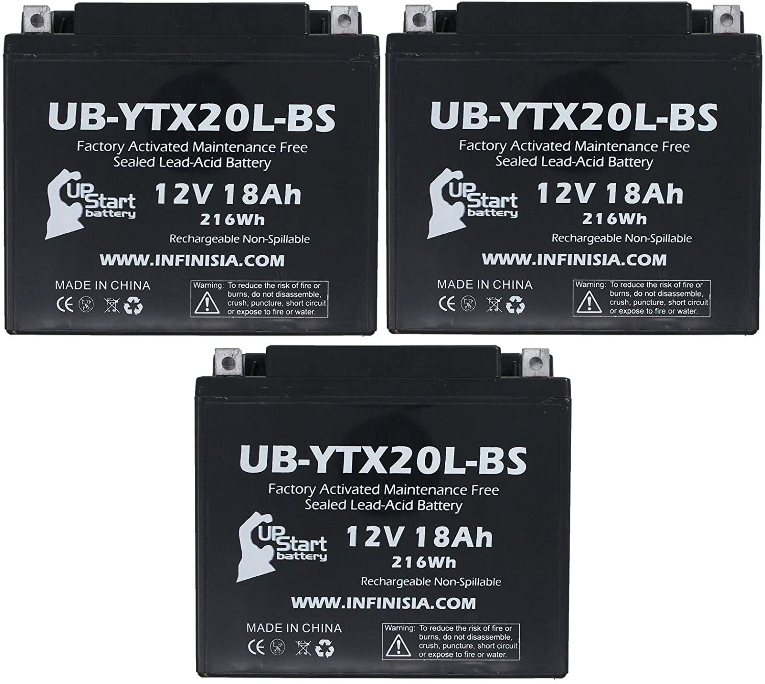 3-Pack UB-YTX20L-BS Battery Replacement for 2007 Kawasaki Jet Ski JT1500B, C, 250X, Ultra LX, 260(L) X, 300(L) X 1500 CC Personal Watercraft - Factory Activated, Maintenance Free Battery - 12V, 18AH