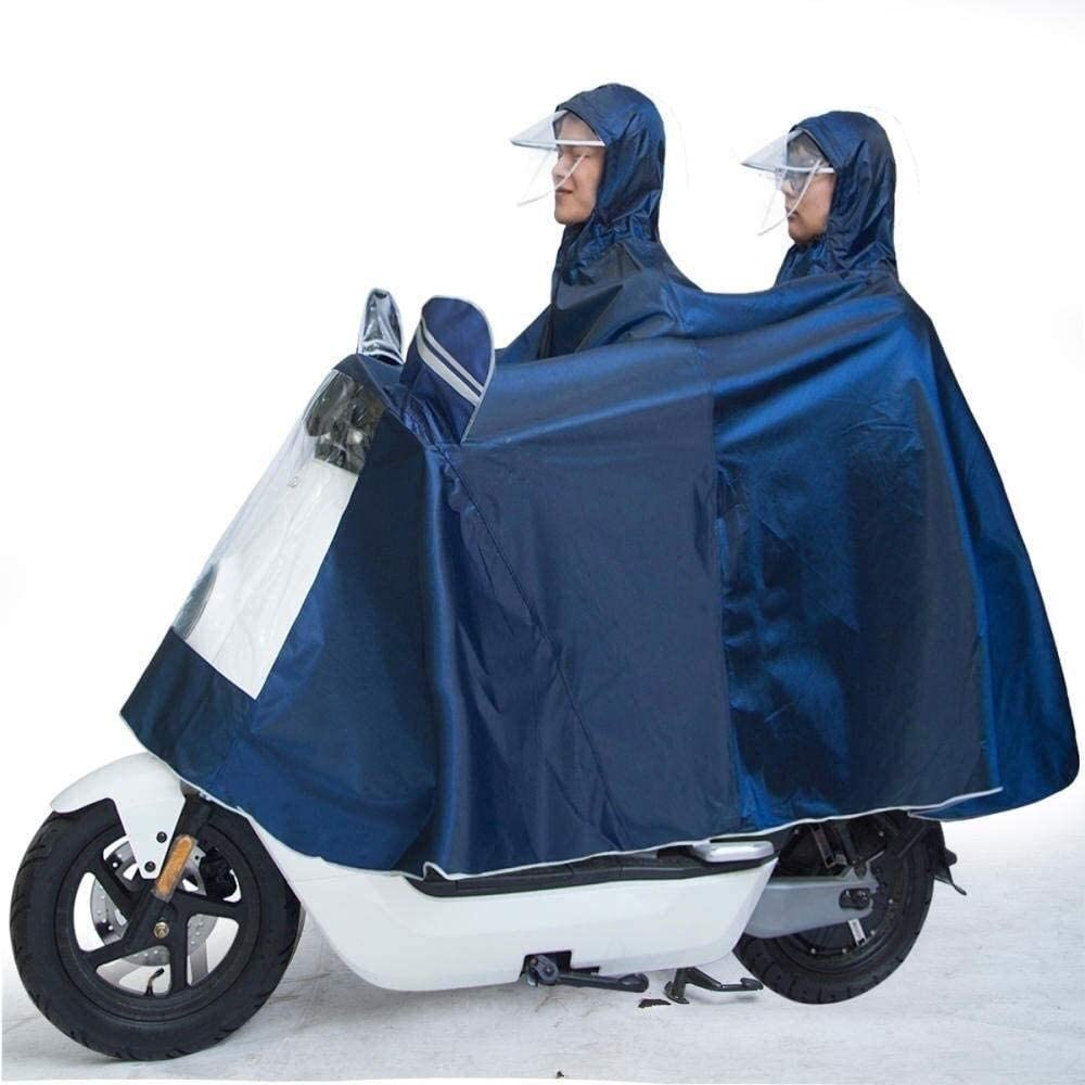 Motorcycle Waterproof Windproof Rain Cover Poncho with Hoods, Single Double Rain Cape Raincoat for Electric Motorcycle Mobility Scooters 724 (Color : A)