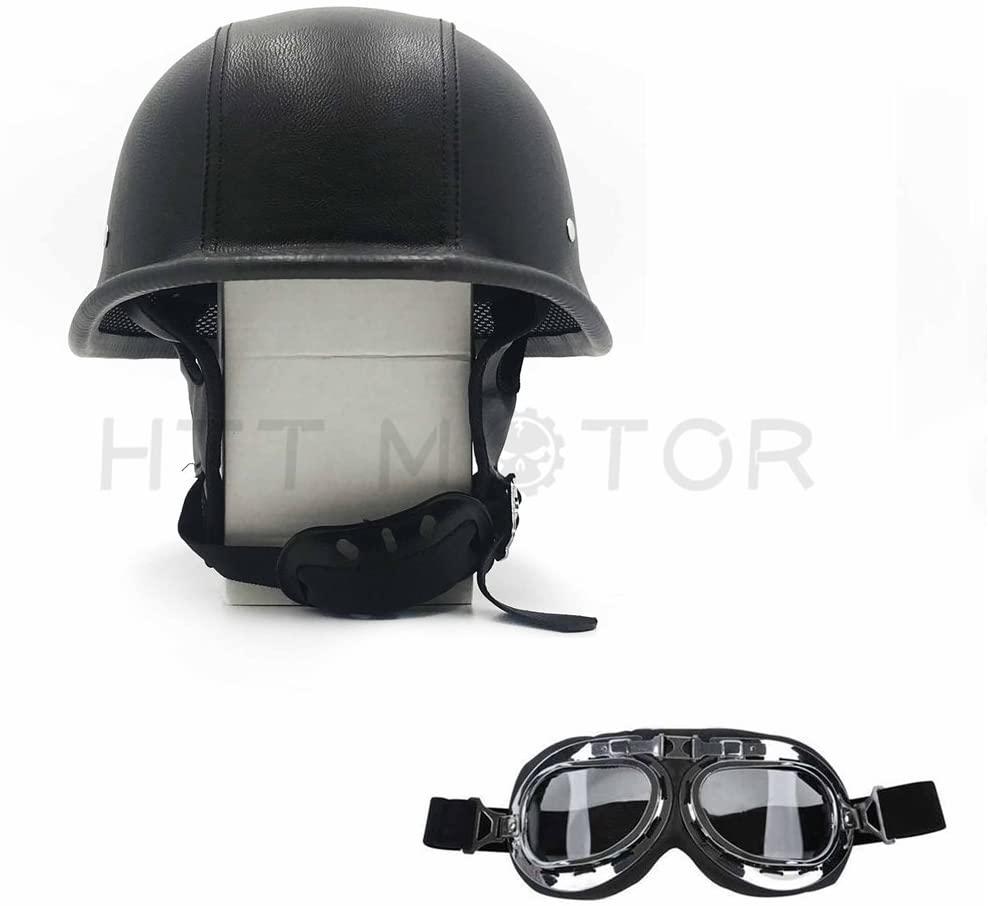 HTTMT MT506-002-L- DOT German Black Leather Motorcycle Half Face Helmet Biker Pilot Goggles Size L
