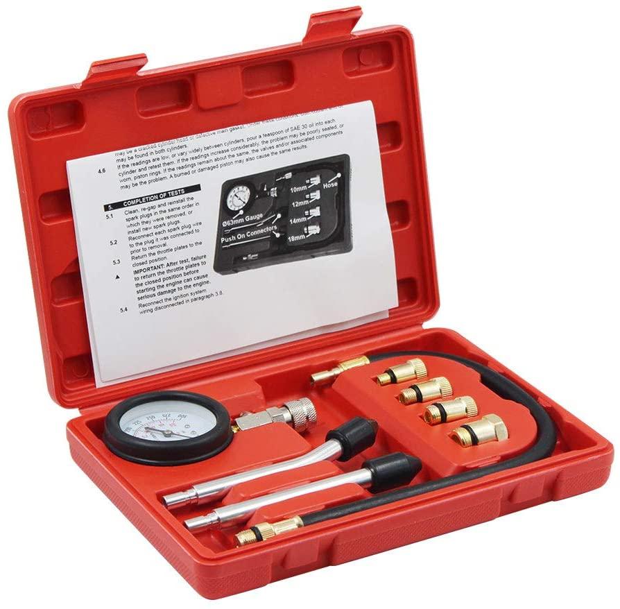 WLLP Professional Compression Test Gauge Kit - Fuel Injection Pressure Tester Set - Engine Cylinder Diagnostic Compression Tester Set Automotive Tool Gauge