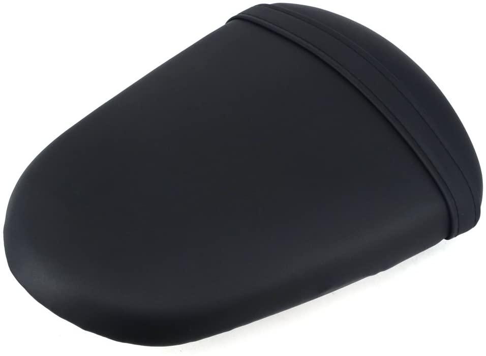 JFG RACING Black Back Motorcycle Seat Soft Comfortable Leather Pad Cusion Rear Seat Passenger Pillion For SUZUKI GSXR 1000 2005-2006