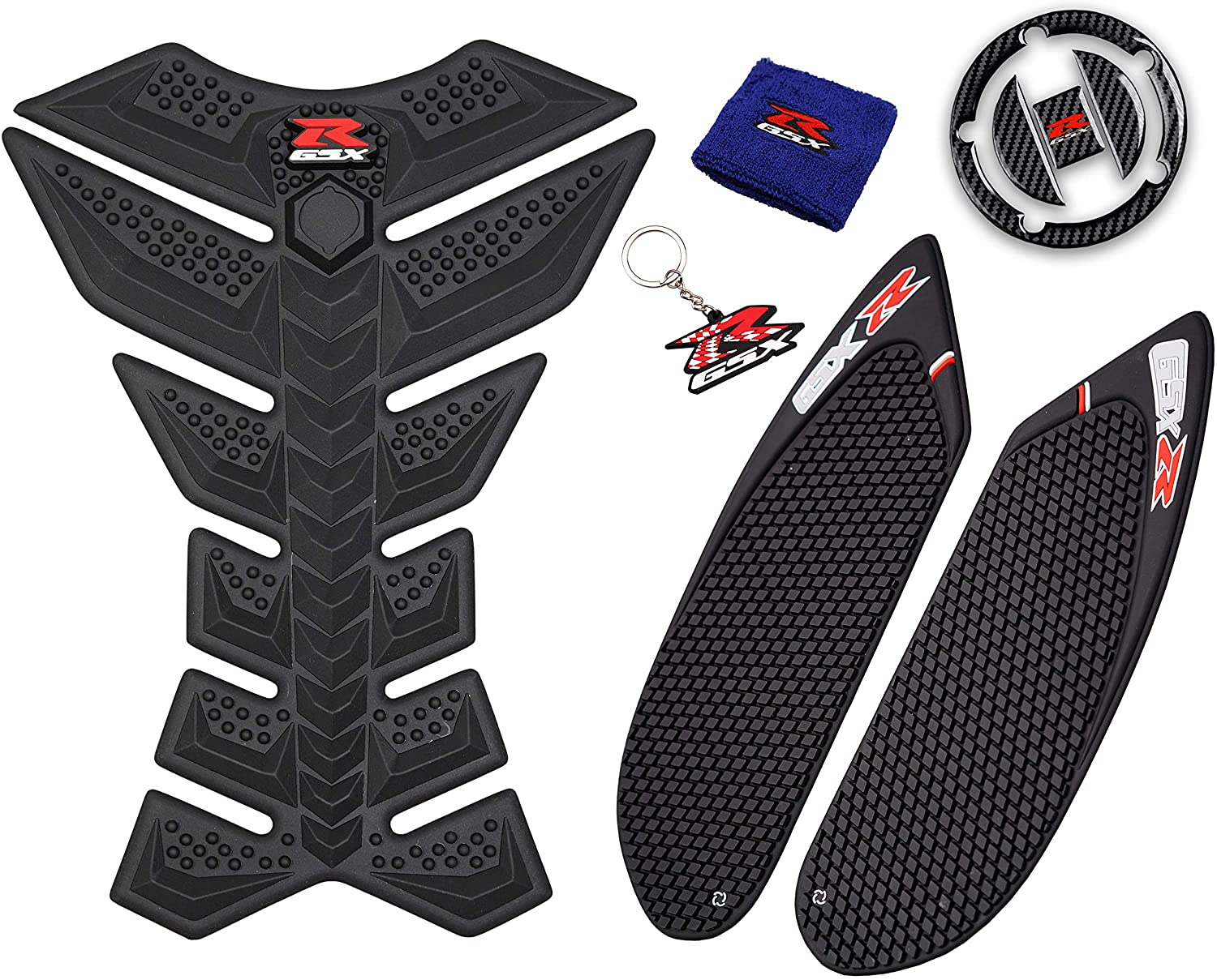 REVSOSTAR 3D Black Rubber Side Tank Pad Protector, Anti Slip sticker, Tank Side Traction Pad, Gas Cap, Fuel Cap Decal,Tank Protector for GSXR 600 750 (2006 2007)