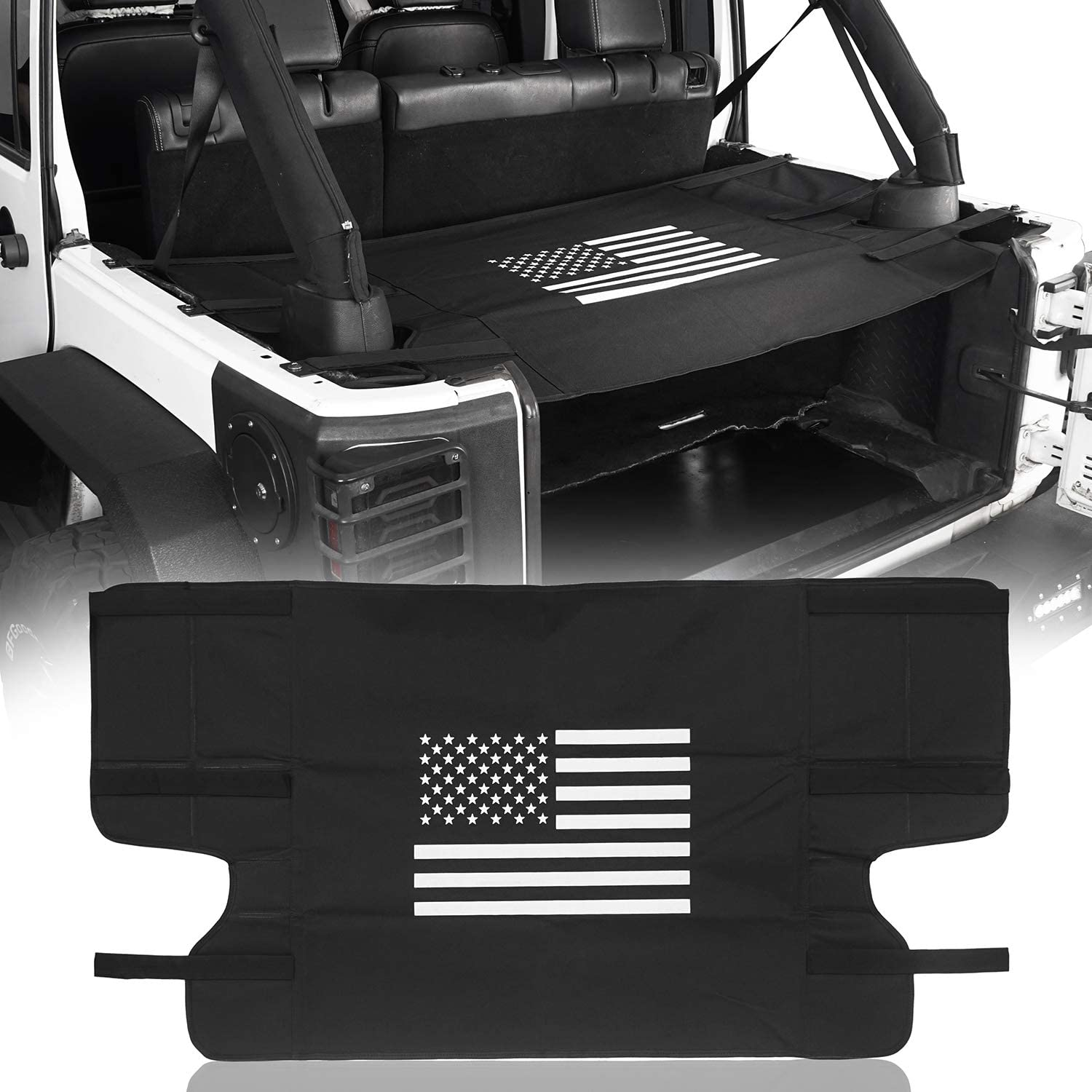 Trunk Cargo Cover w/US Flag Logo for TOP ON/TOPLESS Compatible with Jeep Wrangler JK 07-18 4-Door