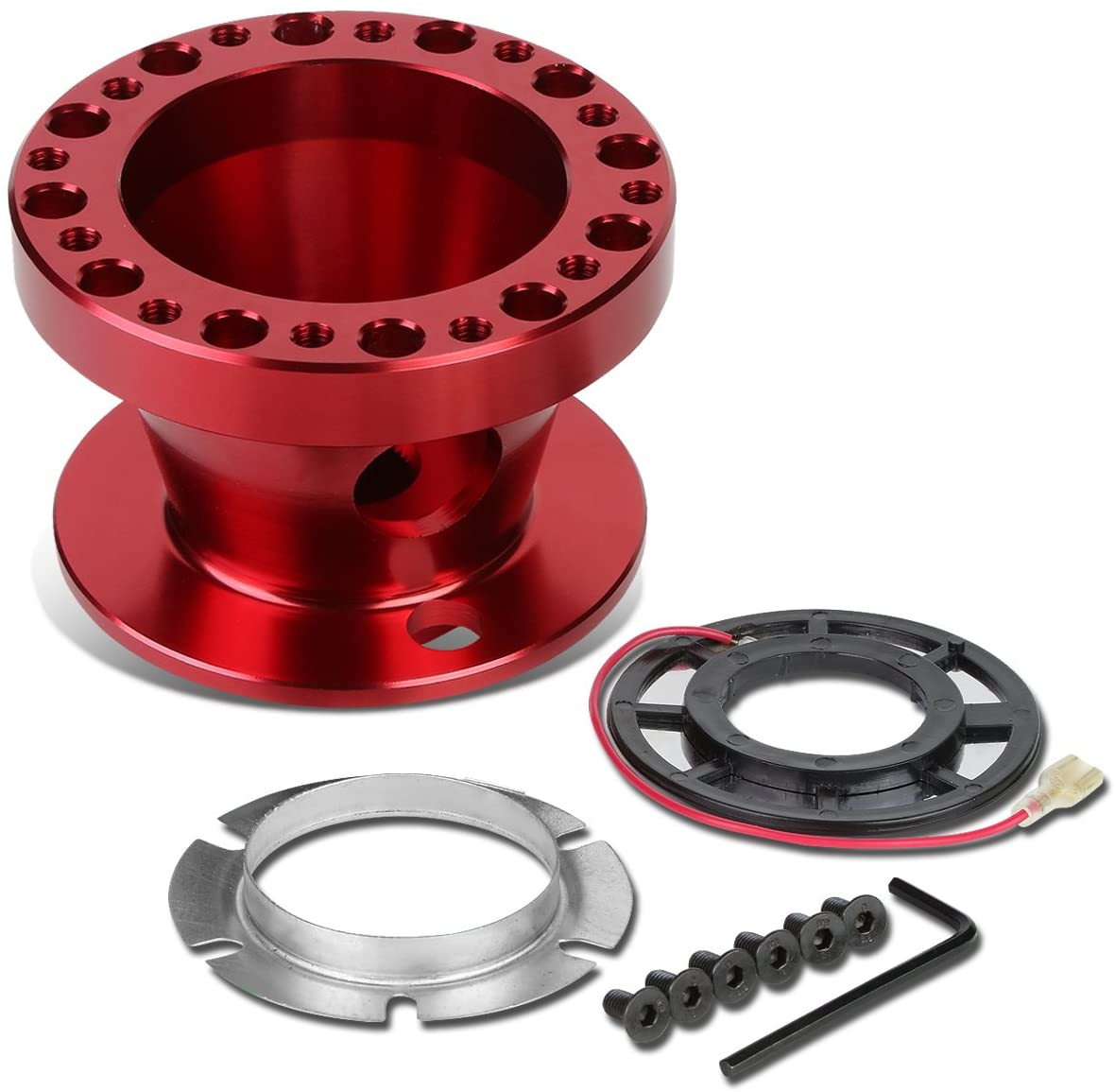 Aluminum Steering Wheel 6-Hole Hub Adaptor Kit (Red) Replacement for Miata / RX7 / RX8 / Protege