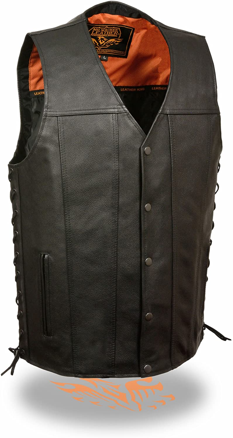 Milwaukee Leather Men's Straight Bottom Side Lace Leather Vest (Black)
