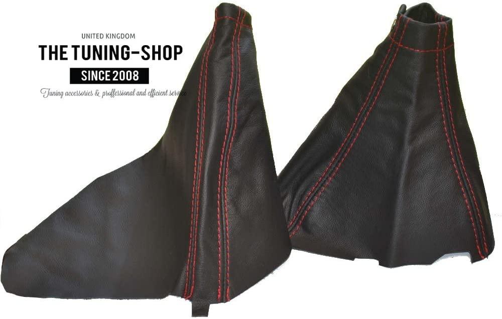 The Tuning-Shop Ltd for Subaru Impreza WRX 2007-12 Shift & E Brake Boot Black Genuine Leather Red Stitching