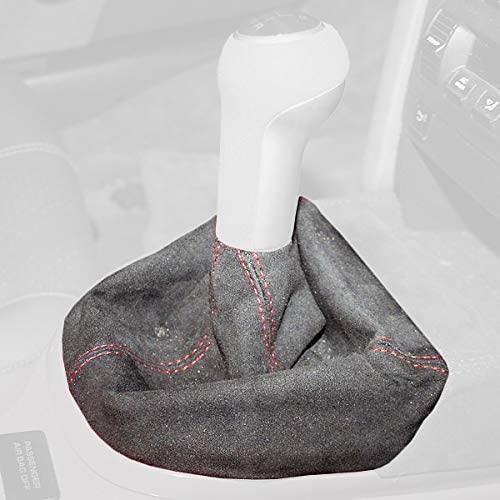 RedlineGoods Shift Boot Compatible with Porsche 911 (997) 2005-12. Black Alcantara-Red Thread