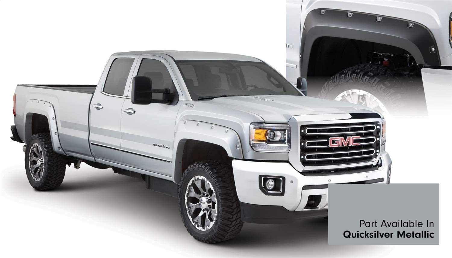 Compatible With/Replacement For Compatible With/Replacement For Bushwacker (B/W-RXG-942) Pocket Style Painted Fender Flares - Fits Sierra 3500 HD 2010-2011