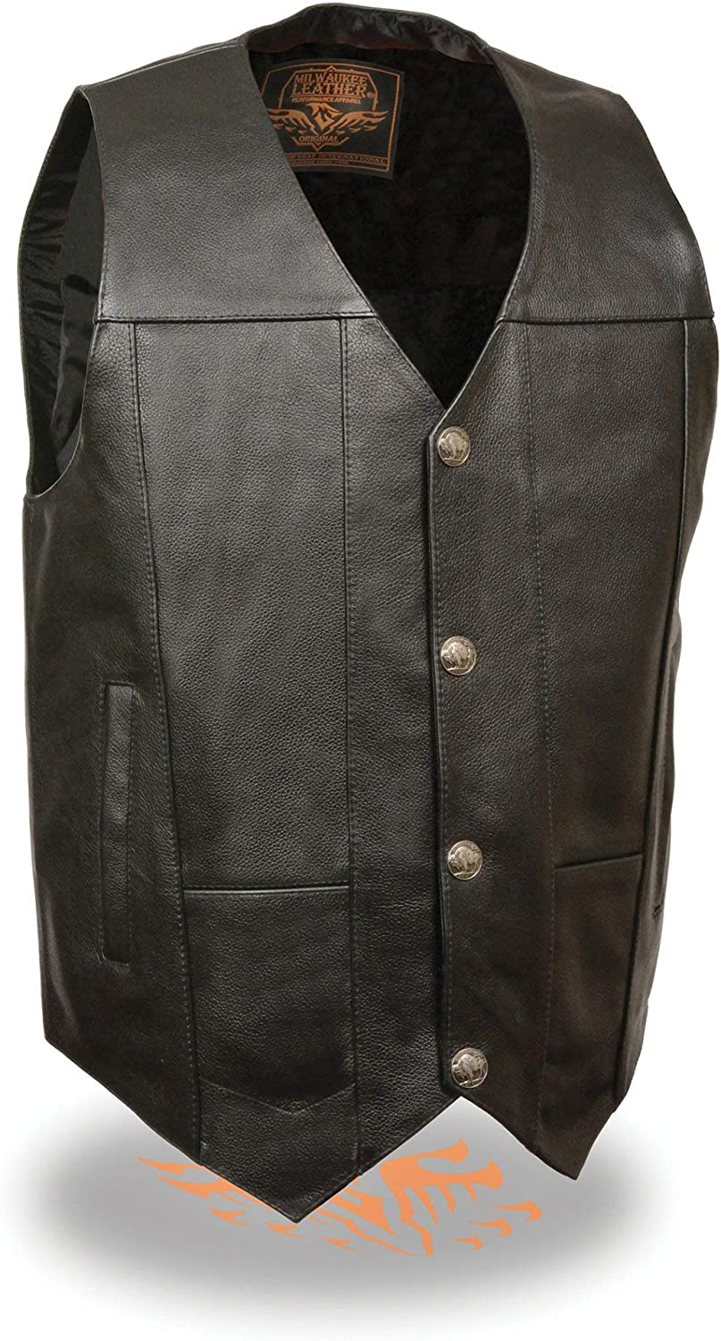 Milwaukee Leather LKM3700 Men's Plain Side Leather Vest with Buffalo Snaps - 4X-Large