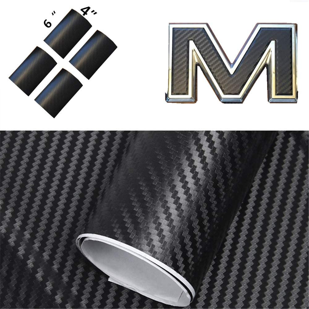 XYC Compatible with GMC Yukon, Sierra, Denali, Acadia, Terrain Front or Rear Emblem Overlay Carbon Fiber Vinyl Decal Wrap GMC Emblem Overlay Sheets 4