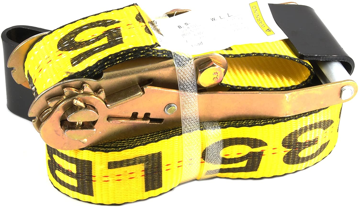 Forney 70460 Ratchet Tie Down Strap with Flat Hooks, 2-Inch-by-27-Feet, Yellow