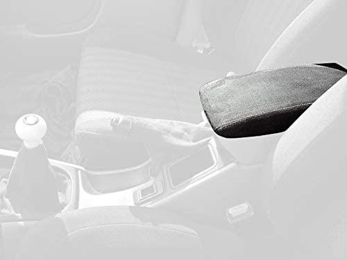 RedlineGoods cubierta de apoyabrazos Compatible with Subaru Forester 1998-02. Cuero Negro Costura Azul