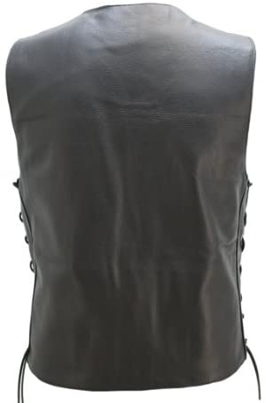 American Made - Leather Motorcycle Vest Seamless Full Panel Back Perfect for Motorcycle Patches.