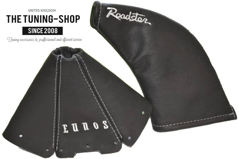The Tuning-Shop Ltd For Mazda Mx-5 Mk1 NA 1989-97 Shift & E Brake Boot Black Leather White EUNOS & ROADSTER Edition Embroidery