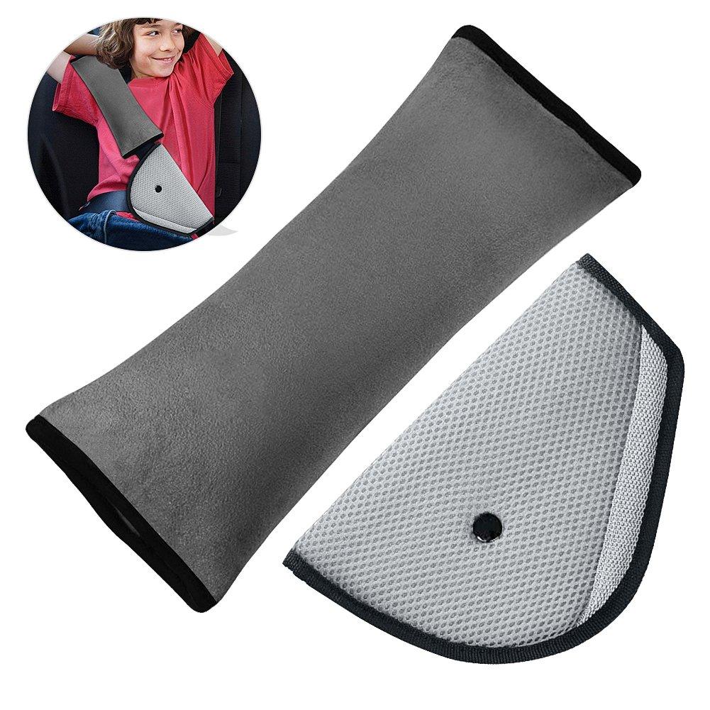 Car Seatbelt Pillow for Kids - Car Belt Strap Cover with Clip Safety Seat Belt Adjuster Protector for Kids Children Baby Adult Travel Adjust Vehicle Shoulder Pads Headrest Neck Support (Grey)