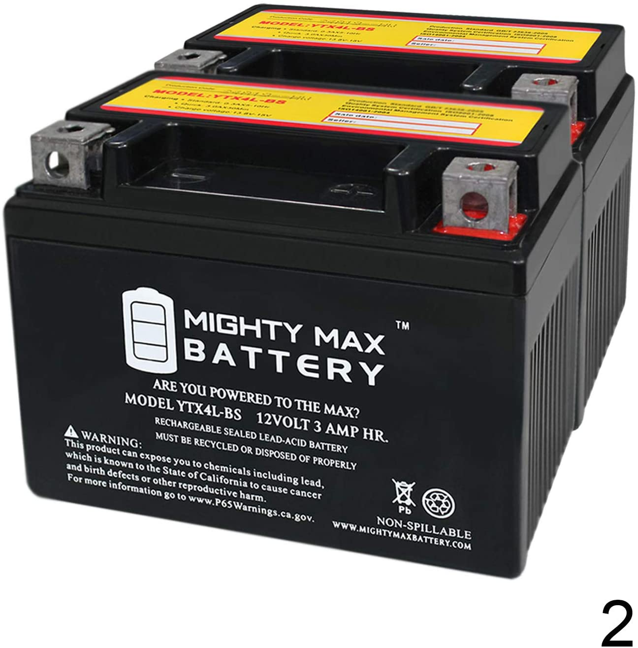 Mighty Max Battery YTX4L-BS Replacement for PTX4L-BS CT4L-BS SLA Battery - 2 Pack Brand Product
