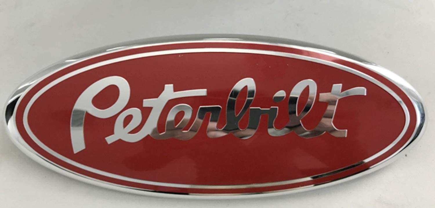 F-9PR PETERBILT POWERSTROKE Super Duty Modified Emblem For FORD Ranger EXPLORER EDGE F-150 F-250 F350 Rear OVAL EMBLEM FRONT GRILLE Tailgate Rear 9 Inch Badge (Peterbilt Style)