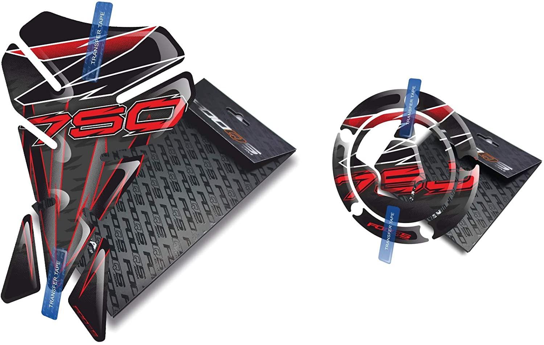 Fooqs Tankpad and Cappad V1 for Kawasaki Z750 Z 750 (Black/Red)
