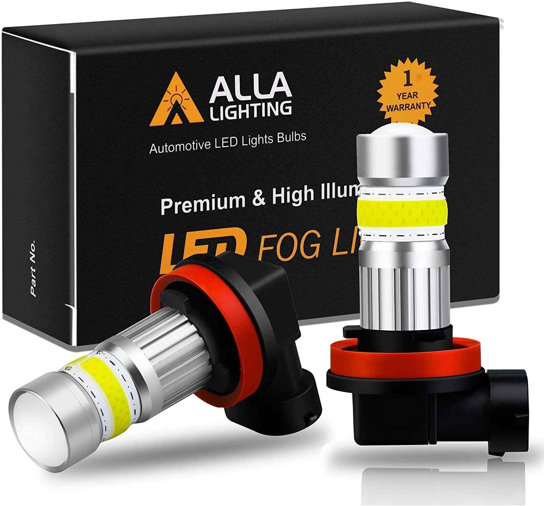 Alla Lighting 2800lm H8 H11 LED Fog Lights Bulbs Xtreme Super Bright High Power COB-72 Cars Trucks H16 H11 LED Foglights DRL Replacement, 6500K Cool Xenon White