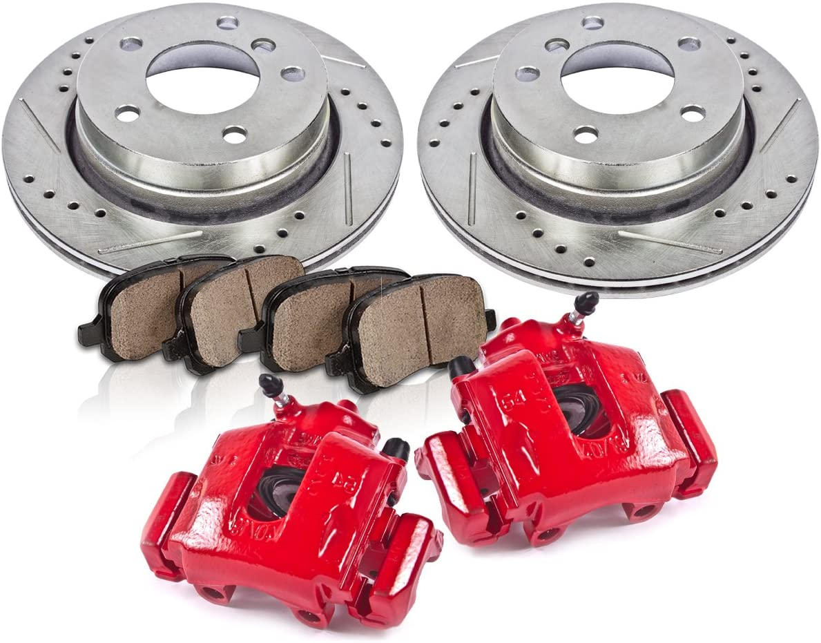 Callahan CCK11914 REAR Powder Coated Red [2] Calipers + [2] 5 Lug Rotors + Quiet Low Dust [4] Ceramic Pads Performance Kit