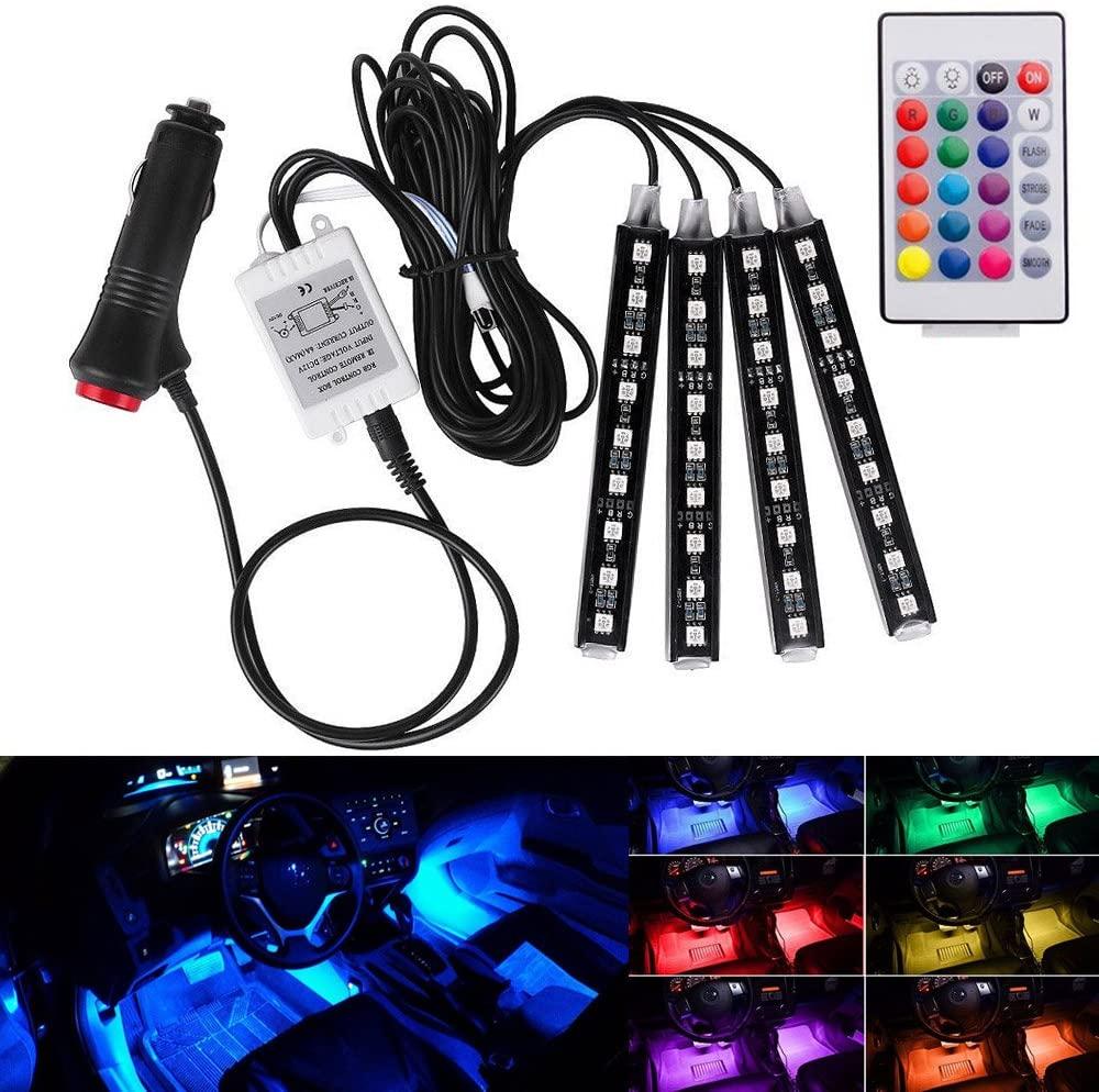 SUBBRY 12V Car RGB LED DRL 4Pcs Strip Light Car Auto Decorative Flexible LED Strips Atmosphere Lamp Light Kit
