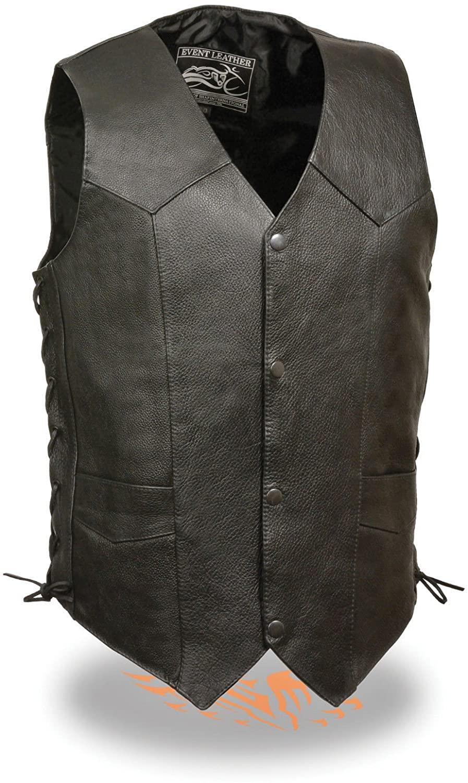 Men's Riding Side lace classic traditional snap button leather vest Blk v neck (4XL)