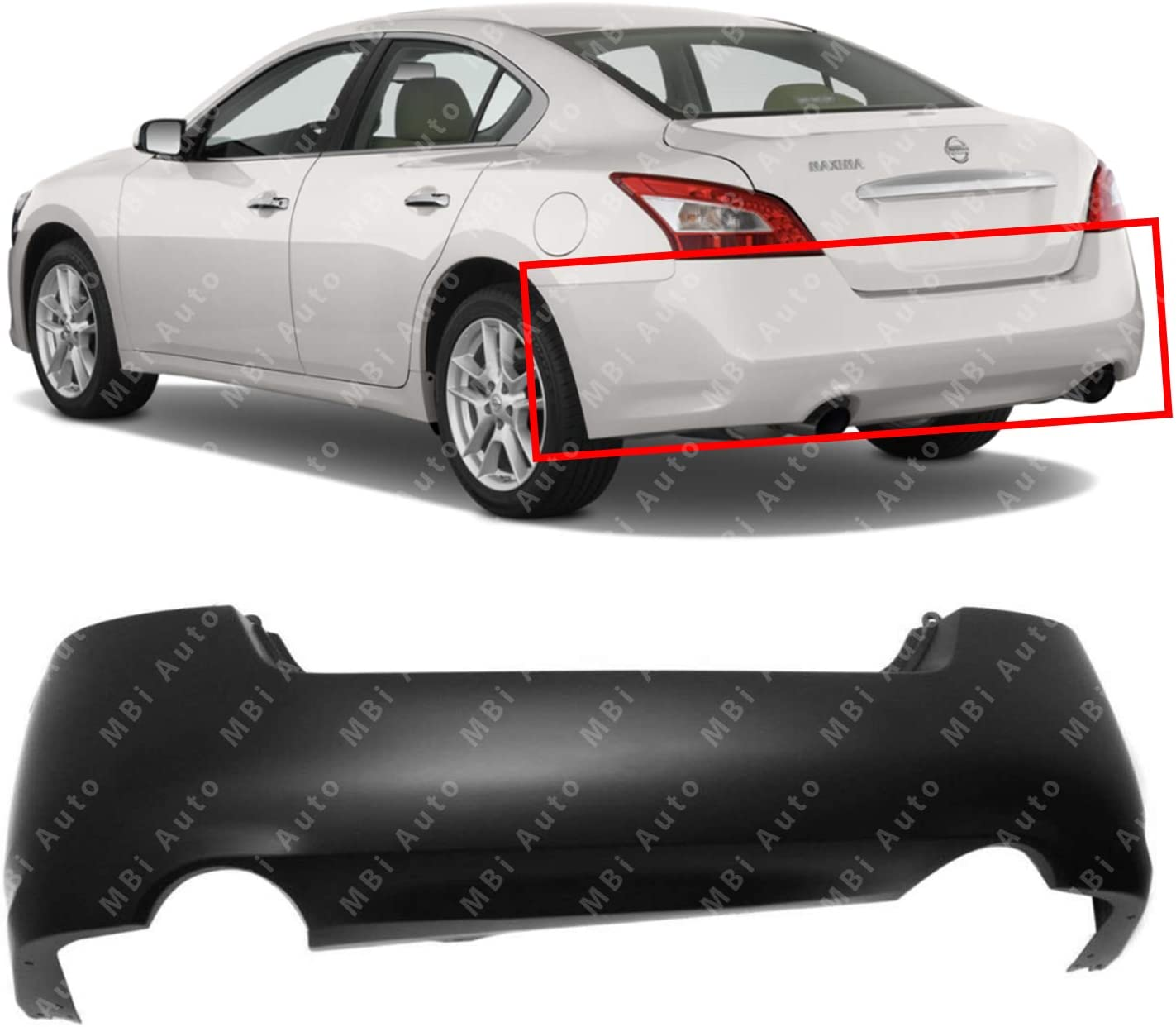MBI AUTO - Primered, Rear Bumper Cover Direct Replacement for 2009-2014 Nissan Maxima 09-14, NI1100264