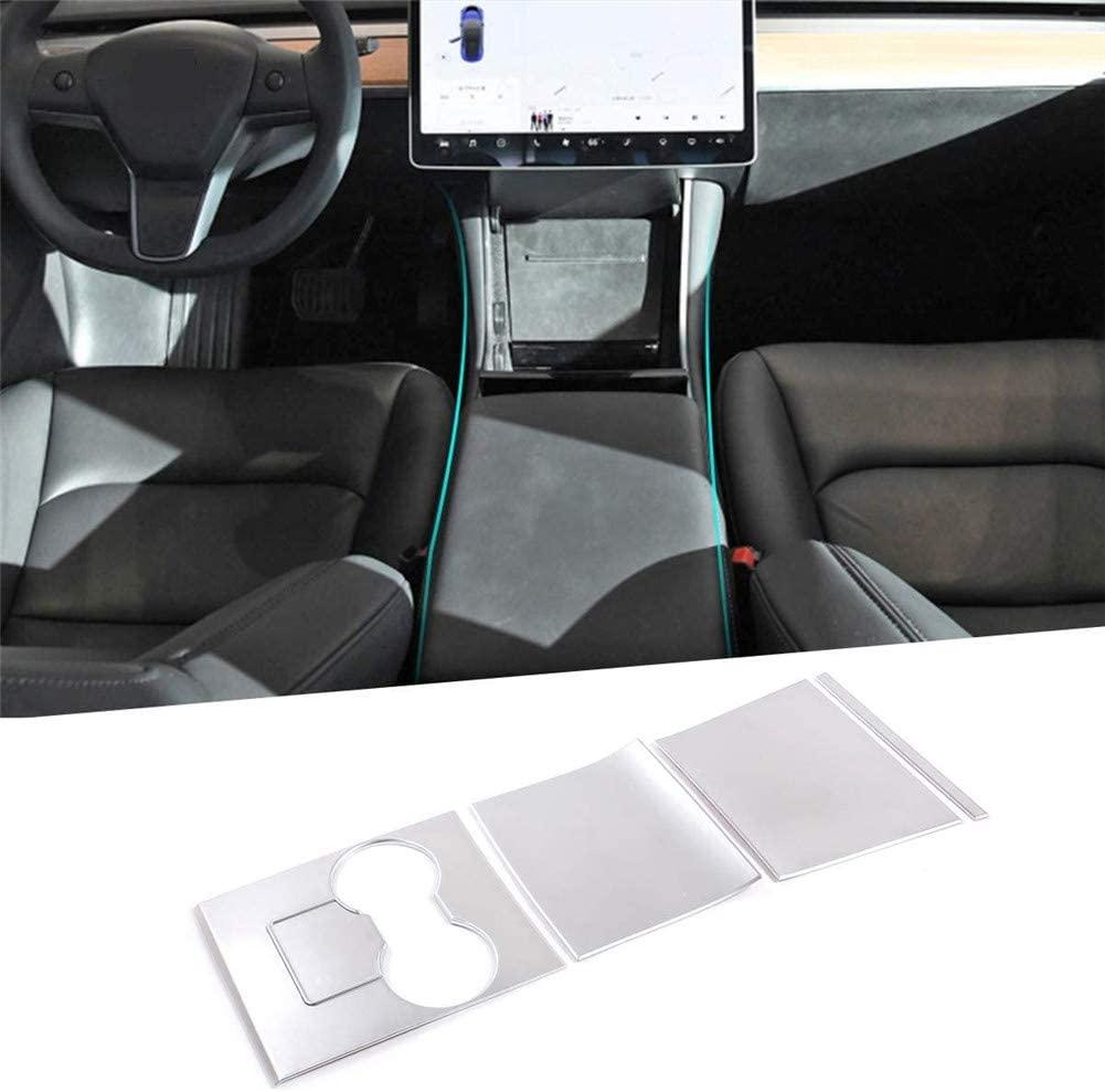 Autobro for Tesla Model 3, ABS Car Center Console Gear Shift Decoration Panel Cover Frame Trim, Silver