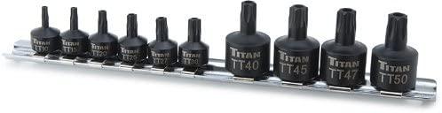 Titan 16143 10-Piece Low Profile Tamper-Resistant Impact Star Bit Socket Set