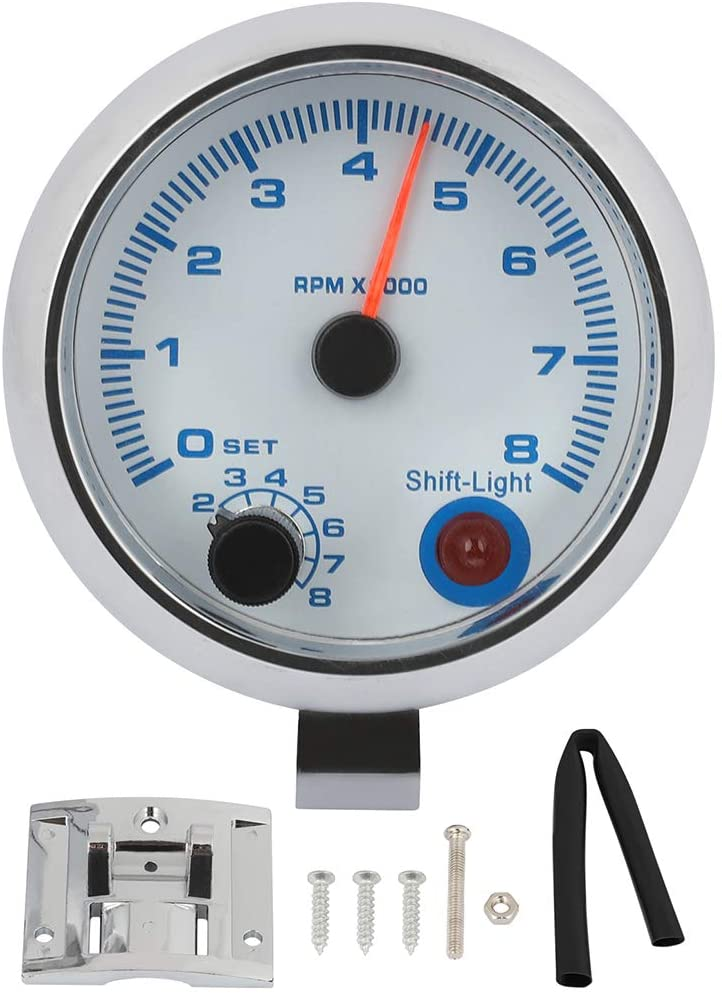 QUALINSIST Gauge Meter 3.75in 95mm Tachometer Gauge 0-8000 RPM Blue LED Light With Shift Light White Cover Automotive Universal Electronic LED Gauge For Most Vehicles
