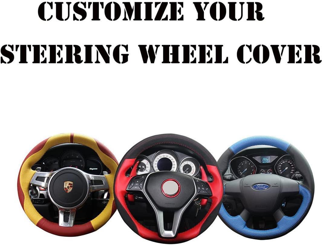 Loncky Auto Custom Fit OEM Black Genuine Leather Steering Wheel Covers for Toyota FJ Cruiser 2007 2008 2009 2010 2011 2012 2013 2014 Interior Accessories