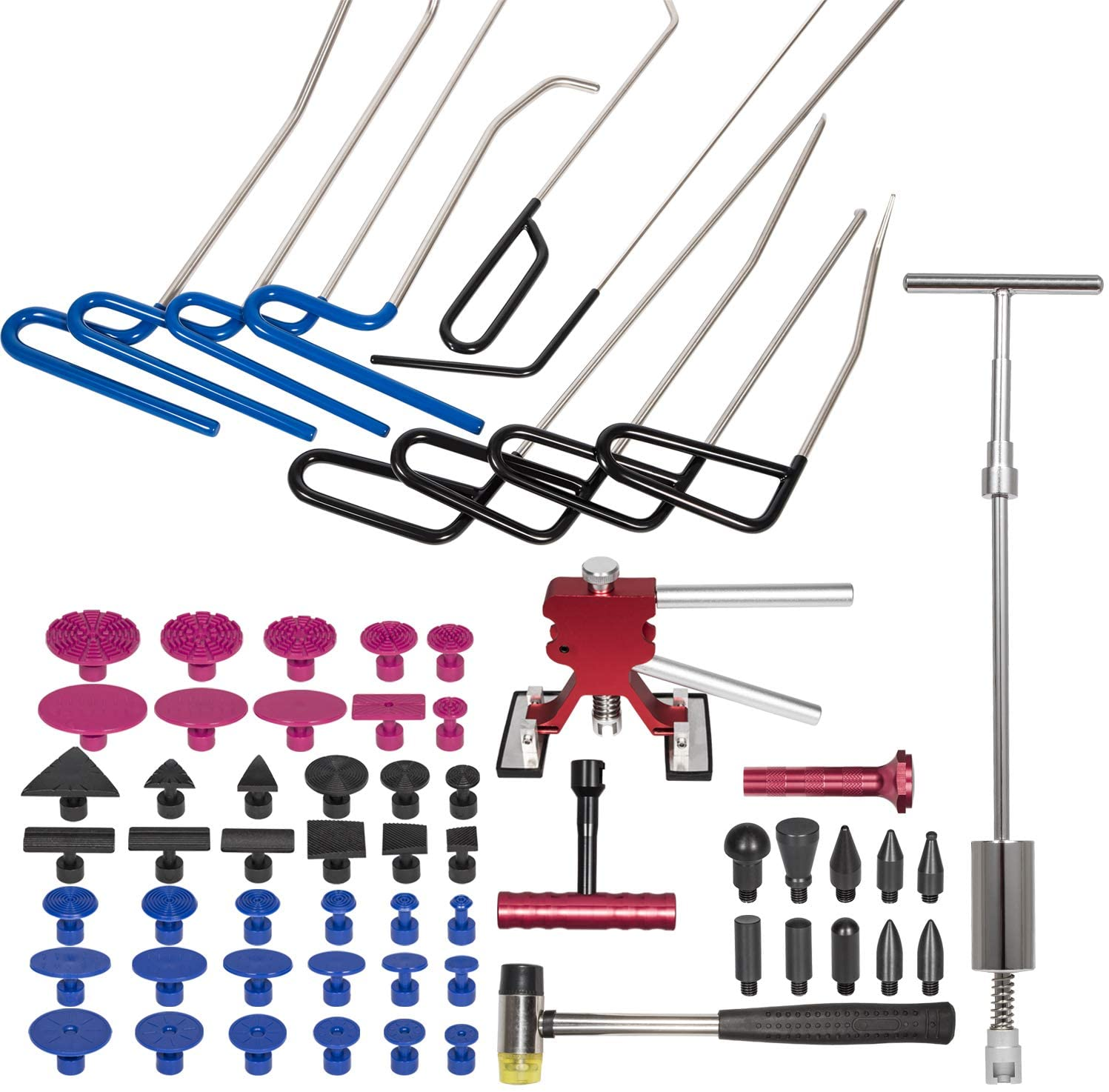 Danti 64 pcs Auto Body Repair Tools, Dent Puller Tools Push Rods, Car Dent Puller with Double Pole Bridge Dent Puller, Glue Puller Tabs for Auto Dent Removal, Minor dents, Door Dings and Hail Damage