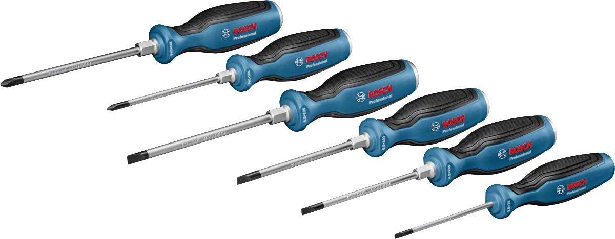 Bosch Professional 1600A016BF 6-Part Screwdriver Set (Length: 75/100/125 mm, in Cardboard Box)