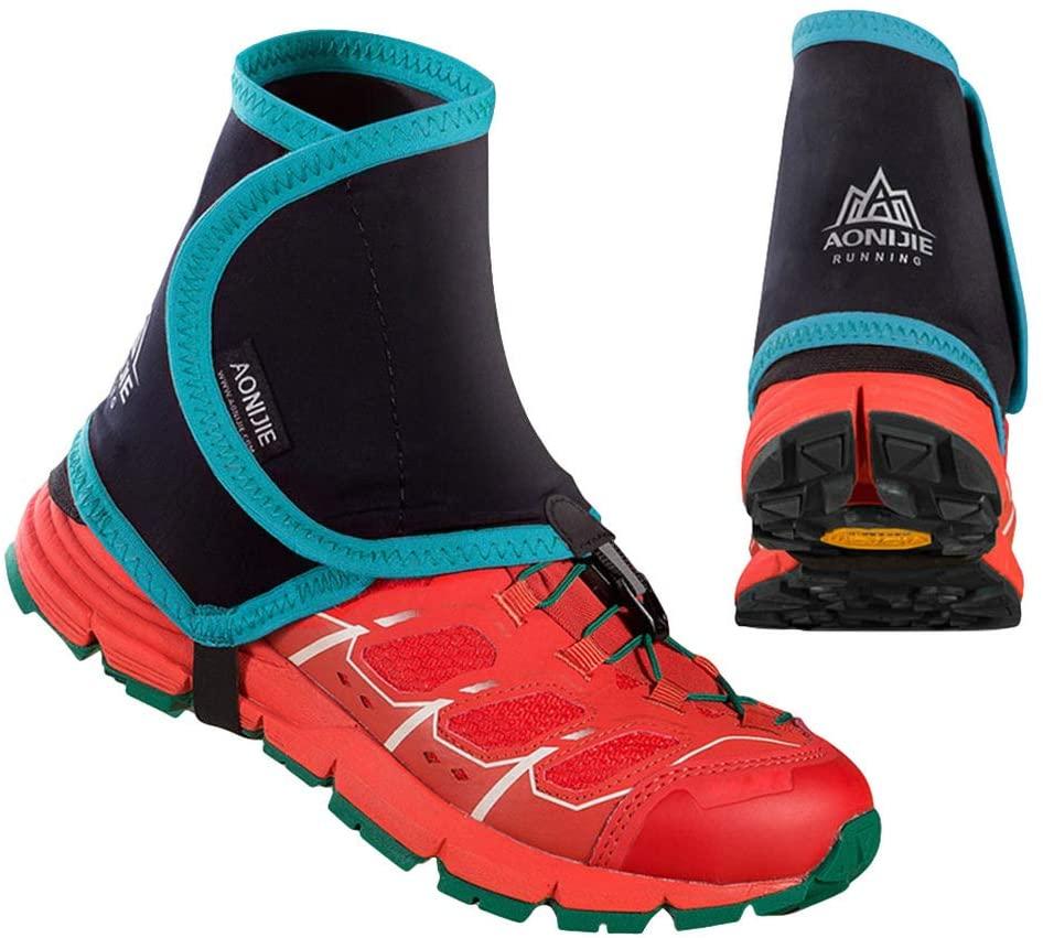 Garneck 1 Pair Low Trail Gaiters Adjustable Waterproof Ankle Gators Running Protective Shoe Covers RunningSupplies for Walking Hiking(Green)