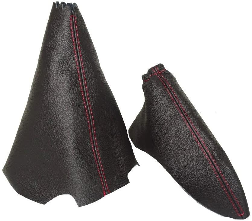 For MAZDA 6 2008-13 MANUAL SHIFT & E BRAKE BOOT BLACK GENUINE LEATHER RED STITCHING