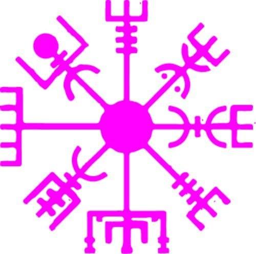 WickedGoodz Pink Vinyl Vegvísir Viking Compass Decal Transfer - Rune Bumper Sticker - Norse Scandinavian Gift