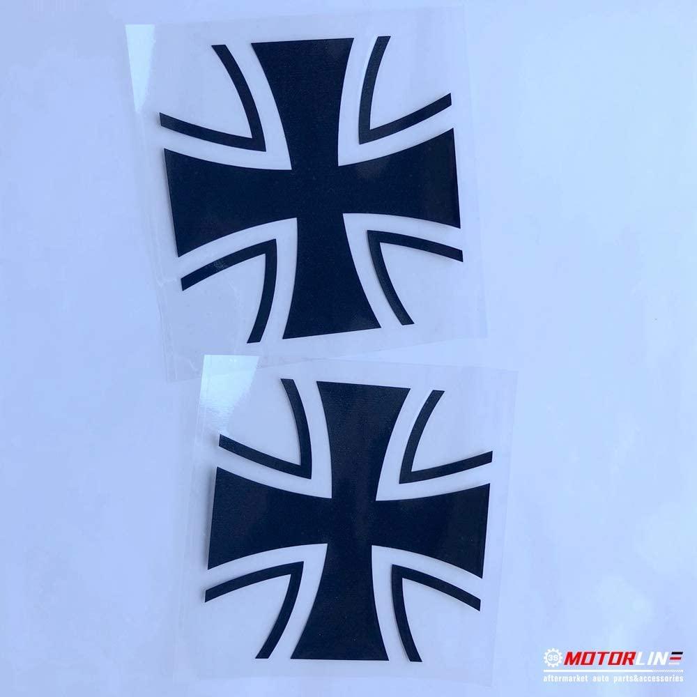 3S MOTORLINE (2) 4'' Iron Cross Decal Sticker Car Vinyl Black German Germany Bundeswehr 1956 sda1