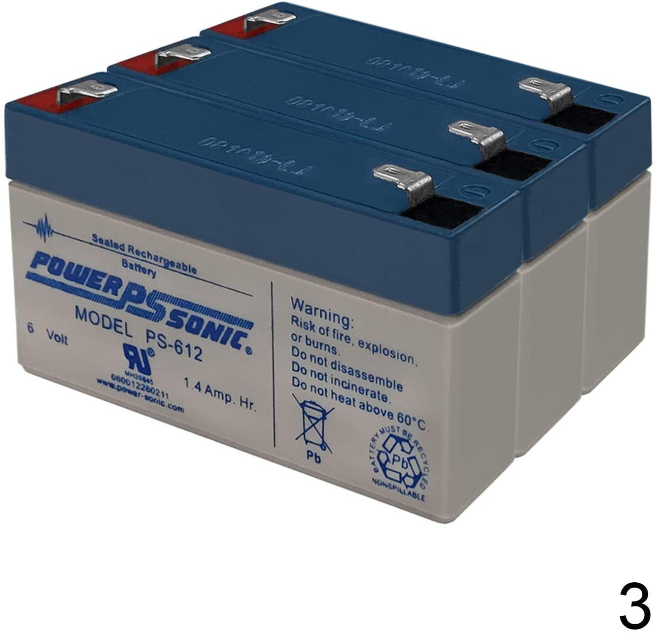 Power Sonic PS-612 6V 1.4AH Replacement Battery for Elan NPKA26V Light - 3 Pack