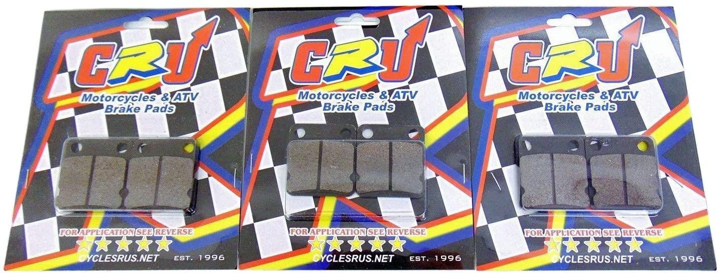 Qty 3 CRU Brand Rear Brake Caliper Pads Compatible with Yamaha 93-01 YZ80 02-16 YZ85 ReplaceFA84