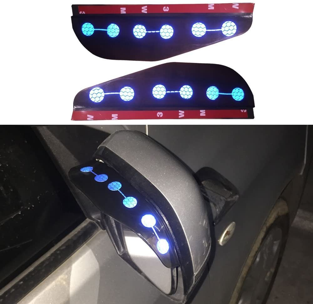 8X-SPEED for Audi A3 Q5 Car Rear View Mirror Rain Eyebrow Waterproof Reflective Protector Cover 2 Pcs (Blue)
