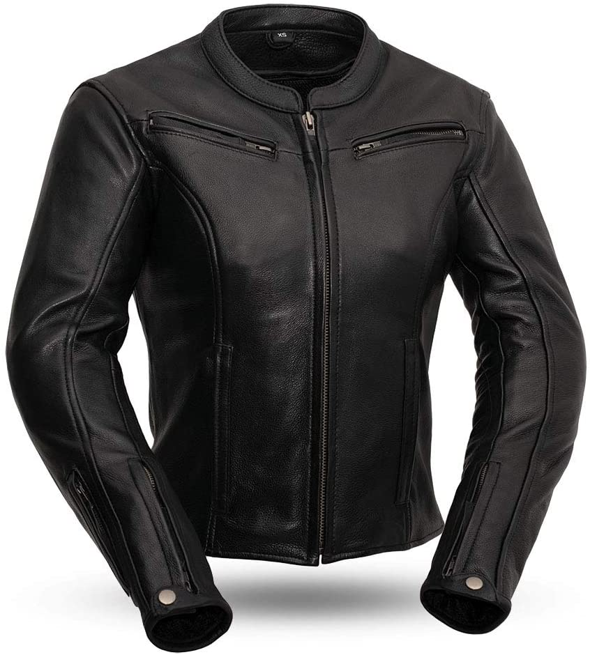 First MFG Co. - Speed Queen - Women's Leather Motorcycle Jacket (Black, 5X-Large)