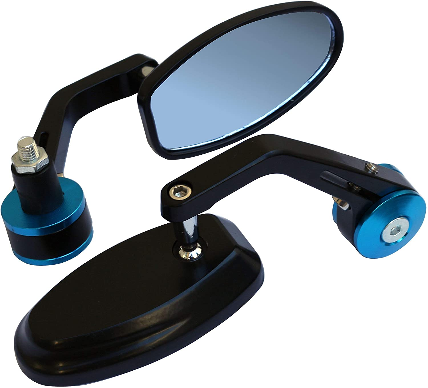 MotorToGo Black Reverse Retro Bar End View Mirrors with Blue Adapter Cover for 2008 Buell Lightning XB12S