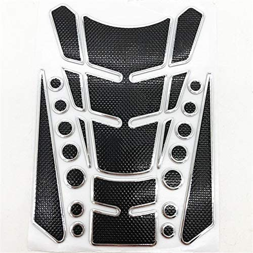 WDINN Real Carbon Fiber Fuel Gas Tank Protector Pad,3D Fuel Oil Gas Tank Pad Sticker Decal Motorcycle Accessories Parts for Honda CB650F CB500X CB400 CB1000R CBR600RR CR 250 CR125 (Color : Silver)