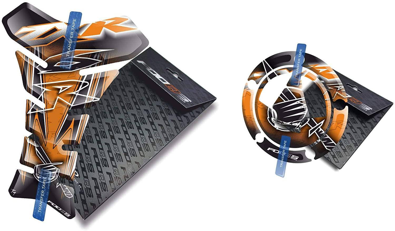 Fooqs Tankpad and Cappad for Kawasaki ZX6R ZX 6R ZX6 Z X 6 R (Orange)