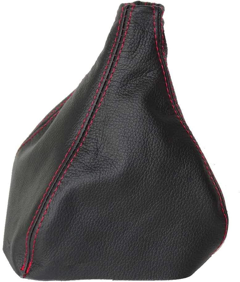 The Tuning-Shop Ltd For Pontiac Firebird Chevrolet Camaro 1997-02 Shift Boot Black Italian Leather Red Stitching